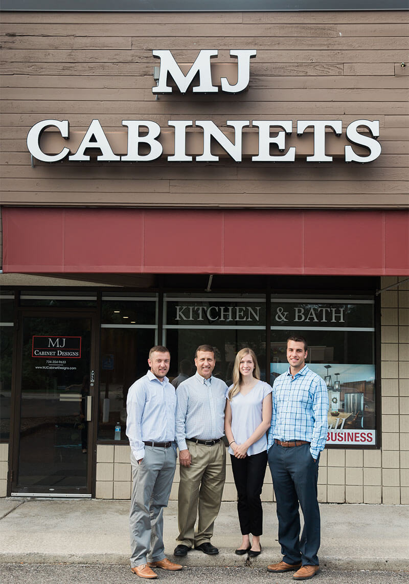MJ Cabinet Designs Building Exterior and Staff