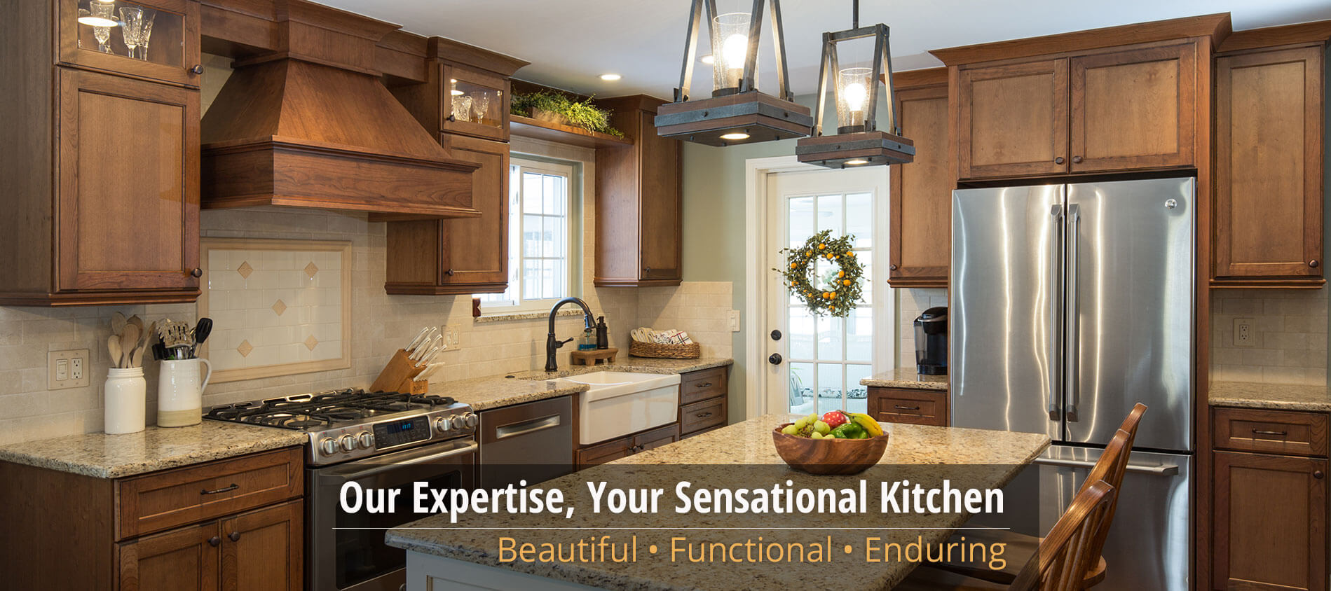 Kitchen with Walnut Cabinets with text reading: Our Expertise, Your Sensational Kitchen; Beautiful